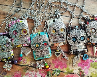 SuGaR SkuLL Pendant Necklace> Leather Jewelry/ Day Of The Dead/ Día De Los Muertos/ Skull Jewelry/ Rockabilly Boho Gypsy/ Mexican Folk