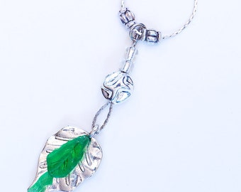 Green seaglass pendant «Crying Leaf»