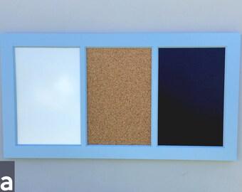 "Large Framed Chalkboard – Triple – Chalkboard Framed – Cork/Chalk/White 34""x18"""