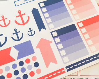 34 Nautical Planner Stickers- To Do List, Anchor, Arrow + Dot Stickers- perfect in your Erin Condren planner, wall calendar or scrapbook