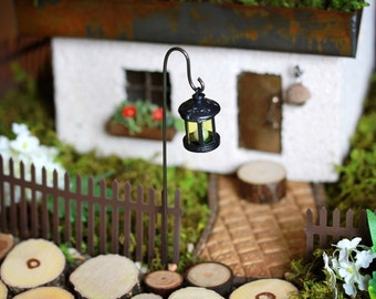 Fairy Garden Accessories, Handcrafted Lantern with decorative candle, miniatures, ROUND black with handcrafted shepherds shepherd hook