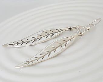 Silver leaf earrings, long dangle earrings, silver long earrings, everyday earrings, dainty dangle earrings