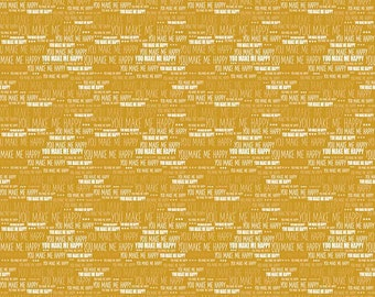 When Skies are Grey Words on Gold by Riley Blake 112cm x 25cm