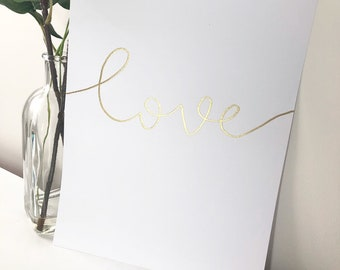 Love Print A4 with Embossed Gold - Unframed