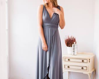 High low dress, high low grey dress, high low infinity dress, high front dress, gray infinity dress, long gray dress, gray bridesmaid dress