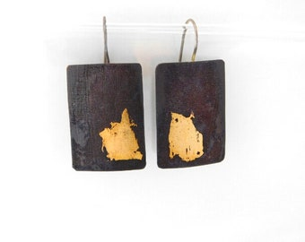 Rounded Rectangle Copper Earrings with 23.5 kt Keum Boo