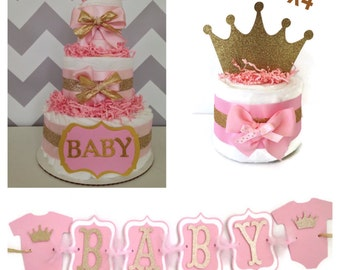 Princess Baby Shower Party Box, Pink and Gold Baby Shower Decorations