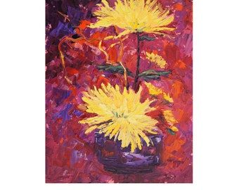 Original Impressionist Floral Oil painting, Ikebana 3 - Yellow Chrysanthemums oil palette knife painting in oil ca.7x10, abstract background