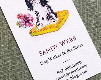Pet business card etsy cavalier king charles spaniel brown or black dog walkerpet sitterdog trainer colourmoves