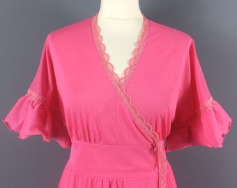 Vintage 70s Pink Nylon Lace Long Wrap Angel Sleeve Maxi Robe Nightie 10