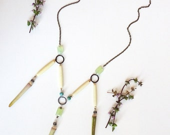 BOHO Long Necklace with Green Chalcedony and Vintage Glass, Statement Necklace