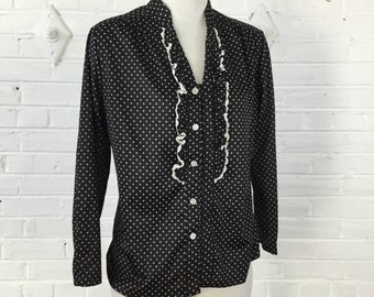1980s Black and White Polka Dot Blouse with Lace Trim, size M - as is