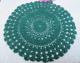 Christmas Doily, Vintage Christmas Doily, Handmade Dark Green Doily, Christmas Home Decor, Crocheted Green Doily, Christmas Table Doily