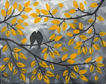 "Yellow grey wall art Love Birds painting gift for her Canvas Art wall decor ""Misty Morning"" by QIQIgallery"