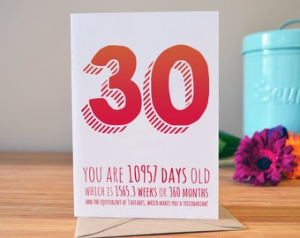 Happy 30th birthday birthday gift 30th birthday card 30th 30th birthday card personalised this card with their name personalised age card 30 bookmarktalkfo Choice Image