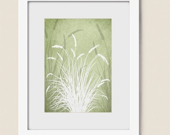 Sage Green Grass Art Print, Living Room Home Wall Decor, Silhouette Nature Wall Art, 5 x 7 Print (103)