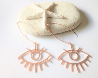 Rose Gold Earrings, Evil Eye Earrings, Large Earrings, Dangle Earrings, Greek Jewelry, Statement Earrings, Trendy Earrings, Greek Earrings
