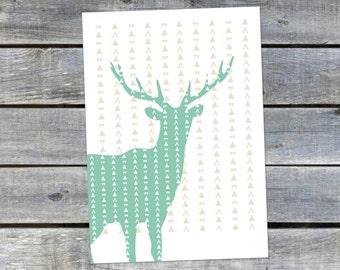 Postcard {green deer}