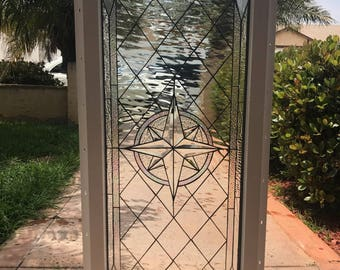 """Vinyl Framed and Tempered Glass Insulated!!  The """"Maywood"""" Stained Glass & Beveled Window  (We do custom work and sizing)"""