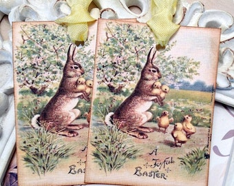 Easter Bunny Tags (6) Easter Favor Tags-Classroom Treat Tags-Easter Gift Tags-Basket Tags-Shabby Easter Tags-Tags for Easter-Easter Party