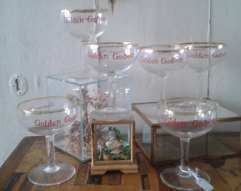 6 X 1960's golden goodwin champagne glasses