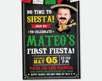 Cinco de Mayo First Birthday Invitation with Photo, Fiesta 1st Birthday, Mariachi Birthday Invitation, Digital Invite, 2 Options