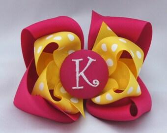 Pink Lemonade Monogrammed Button Hair Bow