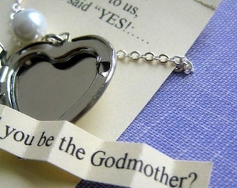 SPRING SALE Ask Godmother, locket necklace, secret announcement. FREE personalized notecard, jewelry box.