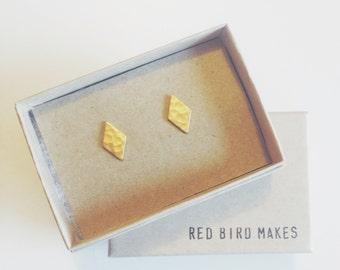 Mini Geo Hammered Brass Diamond Stud Earrings