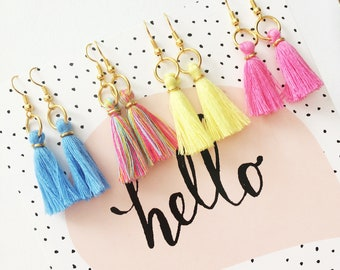 Pretty little pastel tassel earrings, mothers day earrings, gift, peach lemon pink blue rainbow dangly earrings, tassel jewellery,