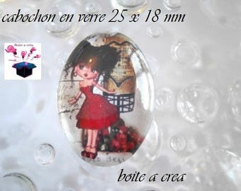 1 cabochon glass 25mm x 18mm theme miss red dress