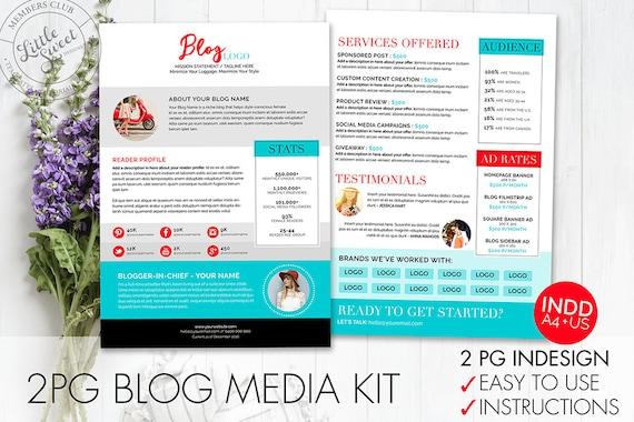 2 page Blog Media Kit Template InDesign INDD Instant