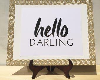 Hello Darling 11x14 Canvas Pallet Wall Print