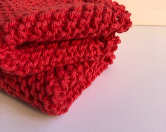Red Knit Dish Cloths, Set of Two, Reusable cotton cloths