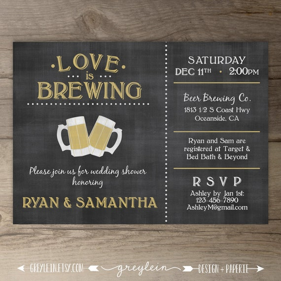 Beer Themed Towels: Love Is Brewing Wedding Shower Engagement Party