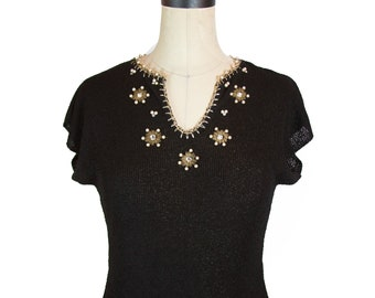 1950s Sweater ~ Black Rayon Knit Rhinestone Pearl and Gold Lurex Thread Crocheted Blouse Top