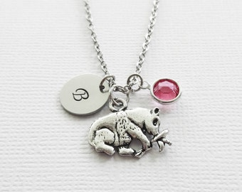 Panda Necklace Climbing Branch Bear China Cute Animal Jewelry Swarovski Birthstone Silver Initial Personalized Monogram Hand Stamped