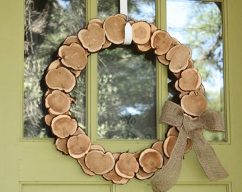 "Wreath, Rustic Wood Slice and Burlap, approx 20"" home decor, simple, modern, cedar tree slices, ranch, southern,"