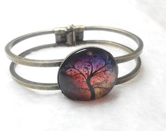 Bronze tree of life colorful Bangle Bracelet