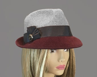 Sami,  Fur Felt Trilby Fedora womens millinery hat,  two-tone color grey and maroon