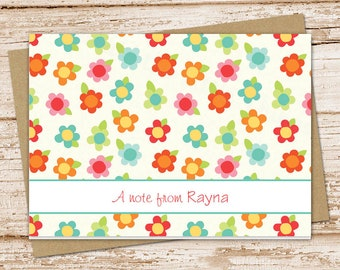 personalized daisy note cards . colored daisies notecard set . girls, teens . folded cards . stationery stationary . set of 8