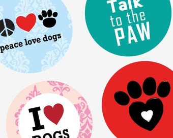 Dog Is Love  - Large Round Images - 2.25 Inch (57mm) - Great for Pocket Mirrors,Coasters,Buttons,Magnets - Digital Sheet - Instant Download