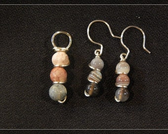 Silver and Stone Earring and Pendant Set