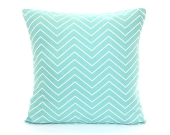 Aqua Chevron Throw Pillow Cover Spa Blue White Decorative Pillow Couch Sofa Pillow Euro Sham Bedding Robin Egg Blue Chevron Accent Cushion