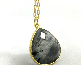 """Rutilated Quartz Gold Plated Necklace with 18"""" Chain"""