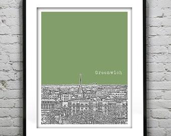 Greenwich Connecticut Poster Print Art Skyline CT version 1