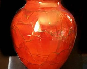 Large Handcrafted Raku fired Porcelain Urn Persimmon with matching Blown Glass Pendant. Pet Memorials, ashes in glass