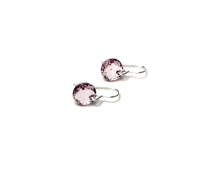 Light Amethyst 10mm Round Classic Cut Swarovski Crystal Sterling Silver Filled Earrings June Birthstone Summer Jewelry Women Graduation Gift