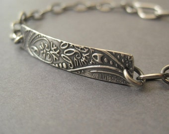 Paisley Bar Bracelet, Sterling Silver bracelet, Fine Silver Jewelry, ID Bracelet, Free Shipping