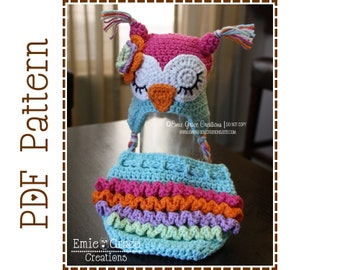 Owl Hat and Ruffle Diaper Cover Crochet Pattern SET - WHO LOVES You - 130, 709